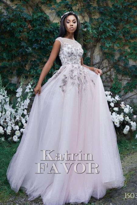 Beaded Embroidered Pink Tulle Modest Prom Dress Cap Sleeves