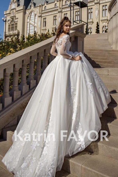 Beaded Lace Tulle Ivory Modest Wedding Dress Long Sleeves Train Back View