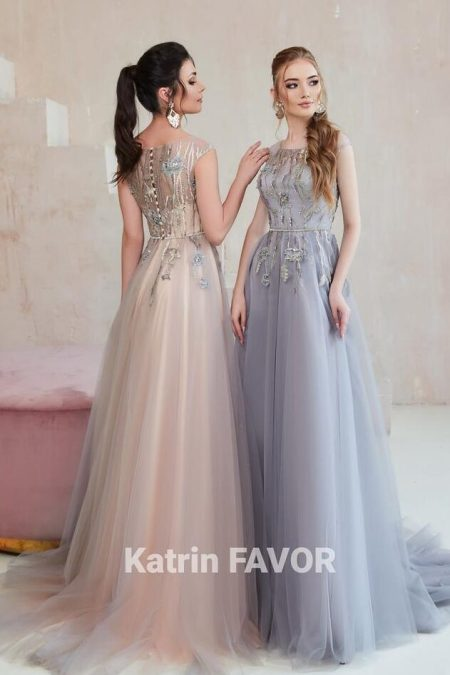 Blush Pink Grey Embroidered Tulle Modest Prom Dress Cap Sleeves