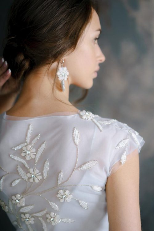 Dusty Blue Modest Wedding Dress Cap Sleeves Embroidery Back View Close Up