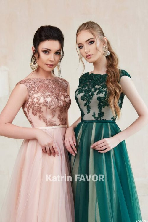 Forest Green Blush Pink Lace Bodice Tulle Skirt Cap Sleeves Modest Prom Dress Detail