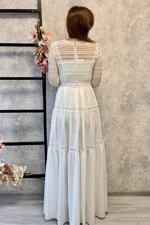 Ivory Abstract Lace Modest Wedding Dress Three Quarter Sleeves Back View.jpg
