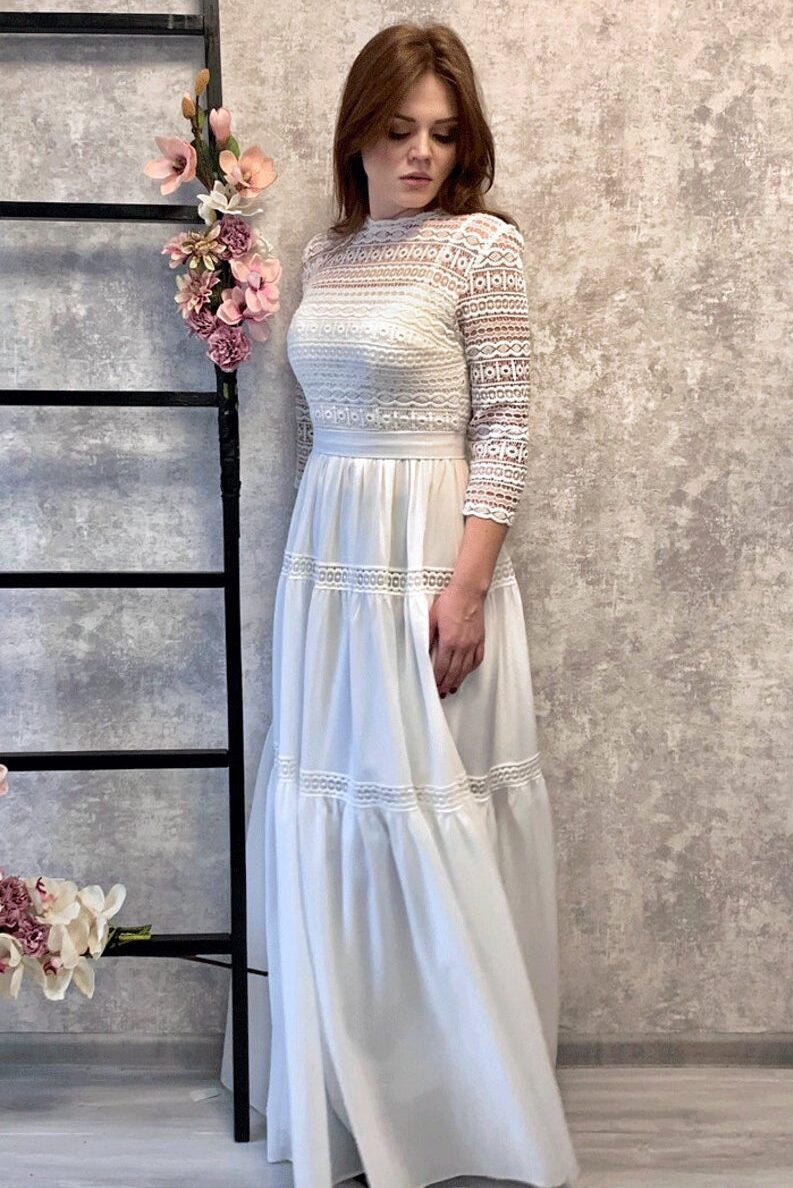 Ivory Abstract Lace Modest Wedding Dress Three Quarter Sleeves