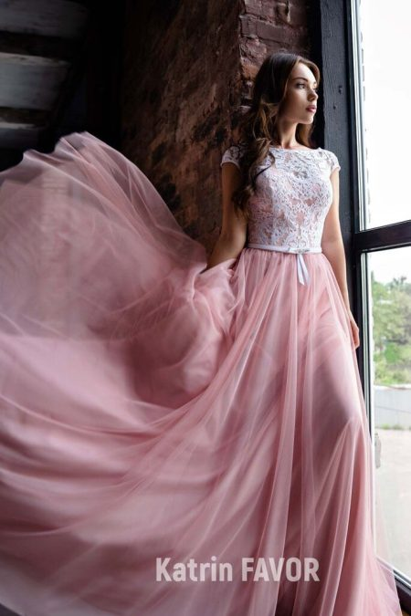 Ivory Lace Bodice Cap Sleeves Pink Tulle Skirt Modest Prom Dress