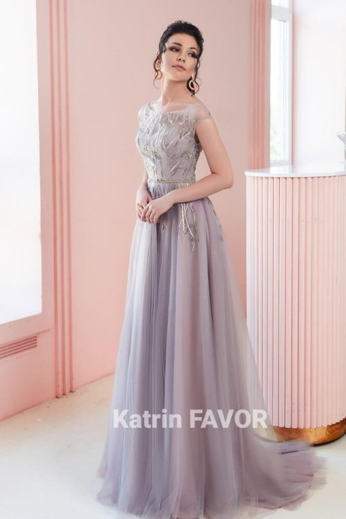 Lavender Embroidered Tulle Modest Prom Dress Cap Sleeves