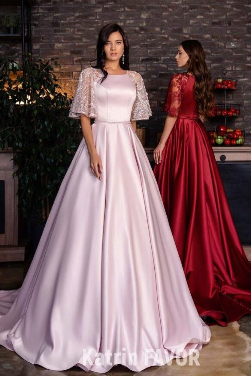 Light Pink Wine Red Modest Prom Dress Lace Sleeves