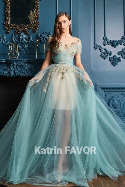 Mint Green Tulle Beaded Embroidered Applique Crisscross Bodice Modest Prom Dress