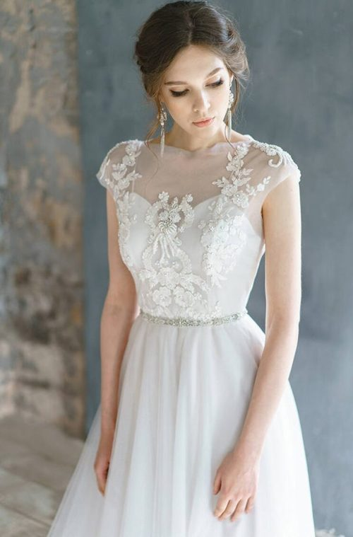 Tulle Embroidery Lace Romantic Cap Sleeve A Line Skirt Modest Wedding Dress Close Up