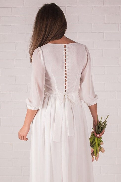 Ivory Chiffon Tznius Modest Wedding Dress Pearlescent Buttons Back View