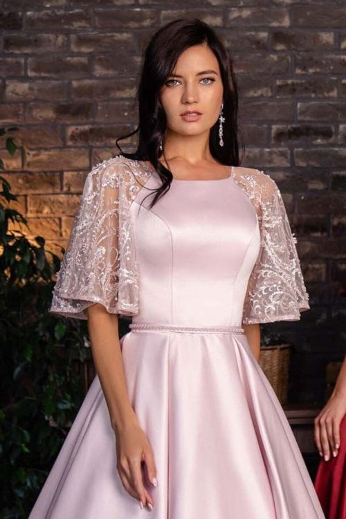 Light Pink Modest Prom Dress Lace Sleeves Detail