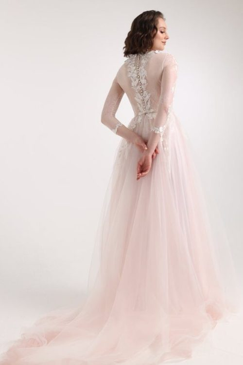 Blush Lace Tulle Sequins Tznius Modest Wedding Dress Long Sleeves Back View