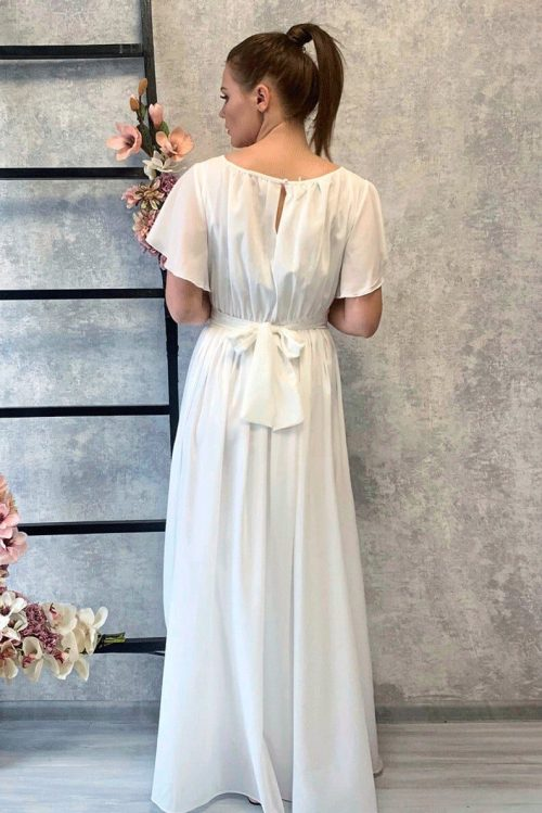 Ivory Chiffon Grecian Style Modest Wedding Dress Flowing Sleeves Back View