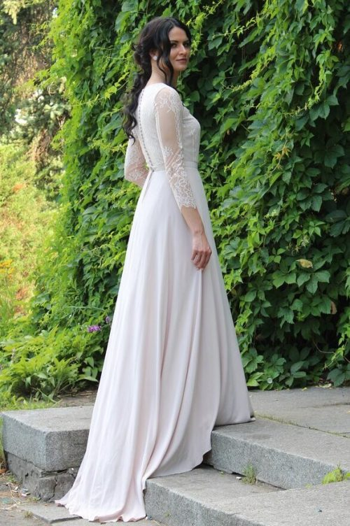 Ivory Sand Lace Silk Tznius Modest Wedding Dress Long Sleeves Side View