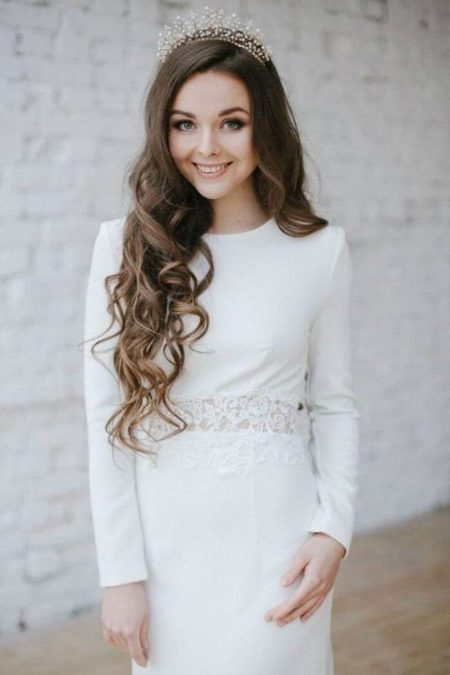 Ivory Winter Wedding Modest Dress Long Sleeves Waist Lace Front View