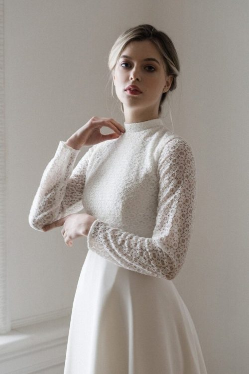 Stand Up Collar Tznius Lace Chiffon A Line Skirt Modest Wedding Dress Front Detail