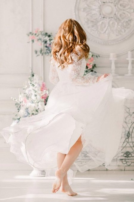 White Lace Tulle Tznius Modest Wedding Dress Long Sleeves Back View