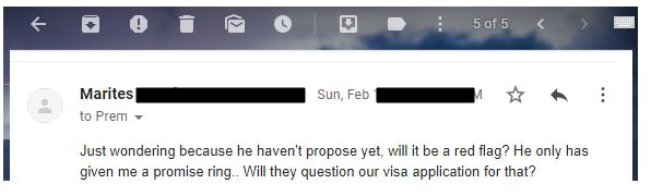 A reader email about having an engagement proposal as a red flag before filing the fiance visa i-129f