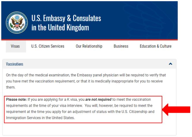 the US Embassy in the UK reminds you that vaccines are optional for K visa applicant. However, they still recommend it for the Adjustment of Status