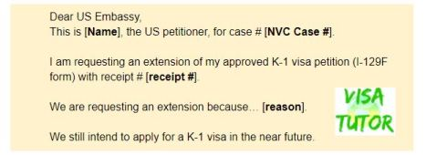 Sample letter Template how to write a request for I-129F extension for your fiance visa case