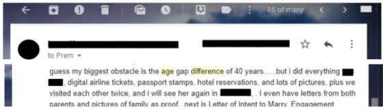 James was 40 years older than his fiance during the K-1 visa. There's a lot of red flags here