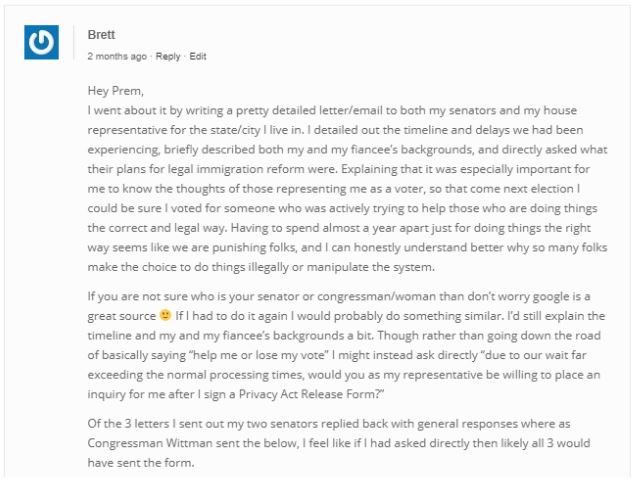 A sample letter addressed to the representative to help submit an inquiry for your fiance k-1 visa