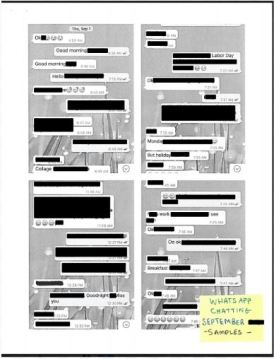 You can redact text messages, emails or anything else for your I-129F or k-1 visa interview packet with proof of relationship