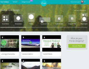 The Canva home screen interface.