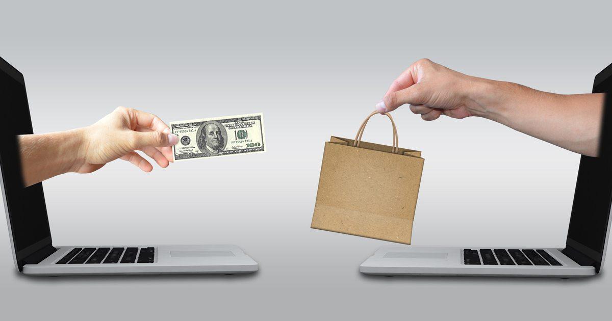 Representation of digital exchange of money for goods.