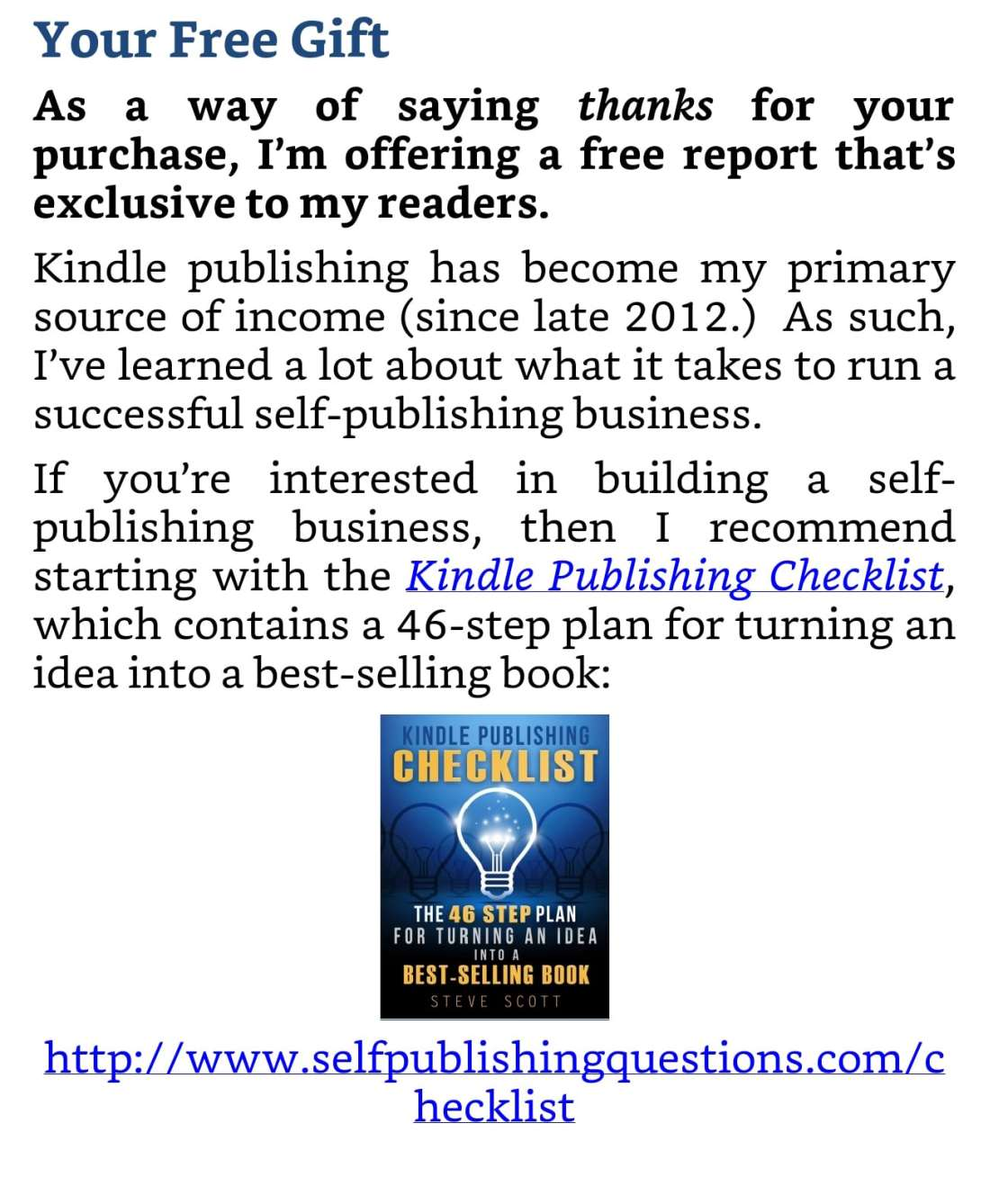 """A """"free gift"""" can drive people from your ebook to your website."""