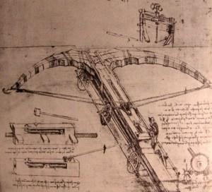 Leonardo da Vinci's Crossbow Design in a sepia-tone sketch.