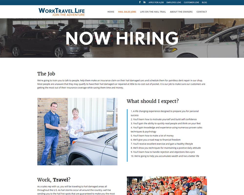 s recruiting website visigility s job page top