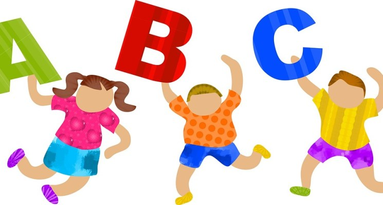 cartoon figure of kids with alphabets