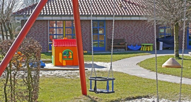 metal swings in a playground