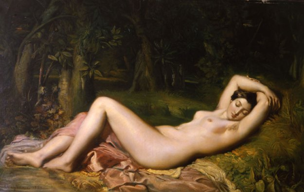 """""""Baigneuse endormie près d'une source"""", Théodore Chassériau. 1850, huile sur toile, musée Calvet, Avignon."""