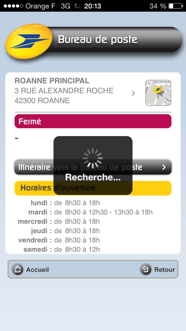 Capture d'écran d'une fiche bureau sur l'application iOS de la Poste, pendant le chargement d'une fiche de bureau de poste.