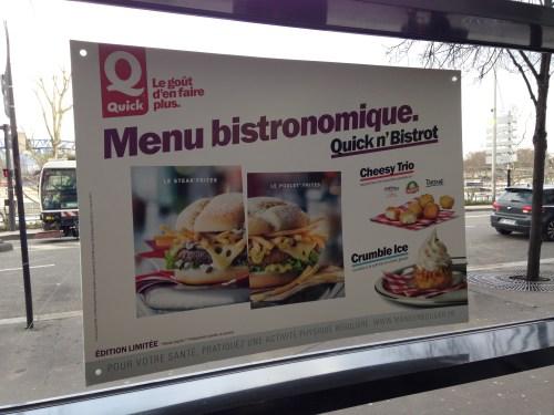 Affiche Quick n'Bistroit «Menu bistronomique»