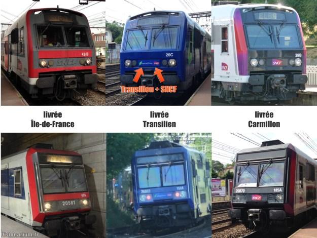 Deux anciens modèles de trains, dans trois livrées différentes.