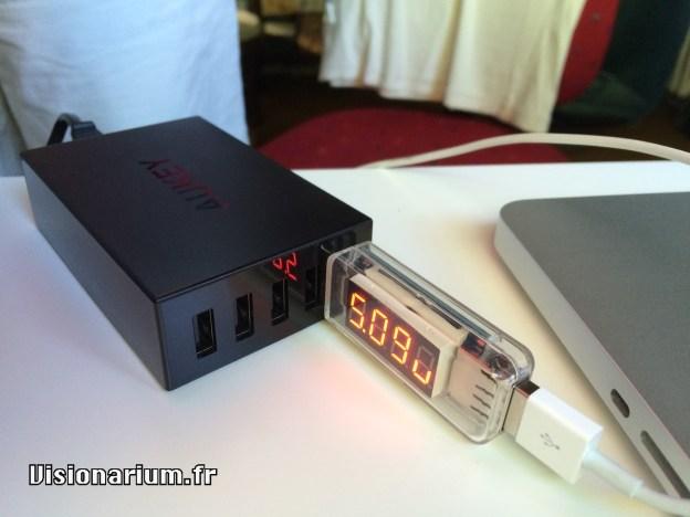 test chargeur Aukey sur Amazon : test volts