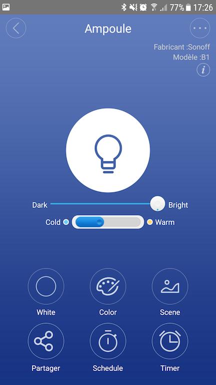 Interface de l'app. Potentiomètre pour la luminosité, bouton à trois positions pour la température du blanc. Source : Pihomeserver.fr