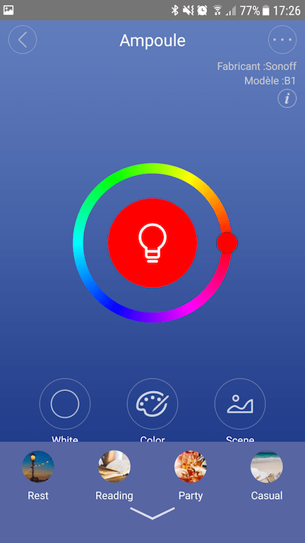Interface pour le choix de la couleur. Et en bas, les différentes scènes. Source : Pihomeserver.fr