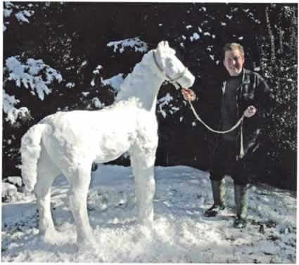 Perhaps the White Witch of Narnia froze this horse in place?