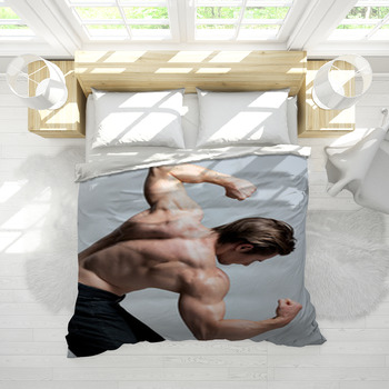 back view of handsome man with muscular body comforter