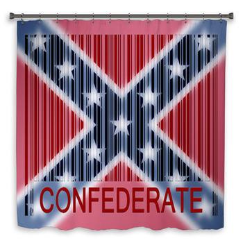 barcode flag shower curtain