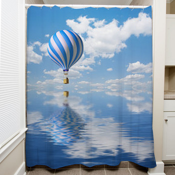 blue white hot air balloon in the sky shower curtain