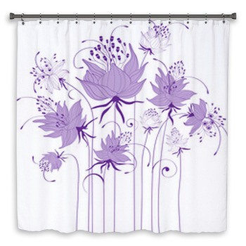 floral design stylized flowers shower curtain