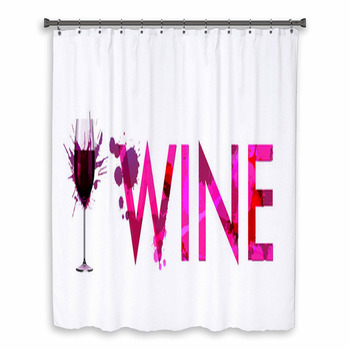 glass of wine made of custom size shower curtain