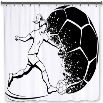 soccer girl kicking with grunge soccer shower curtain
