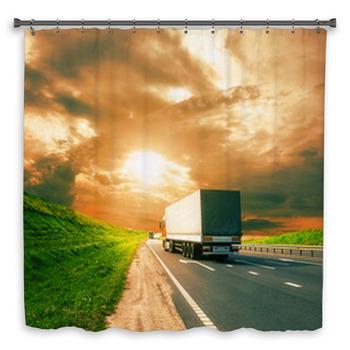trucks under colorful sky custom size shower curtain