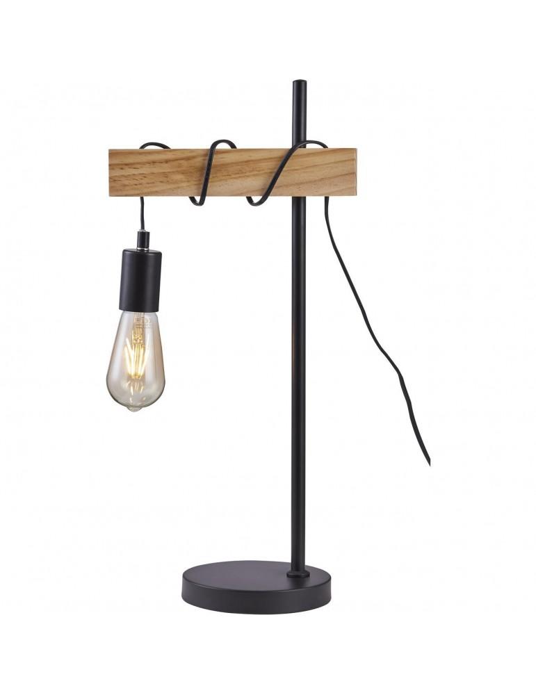 lampadaire industriel braga noir et bois