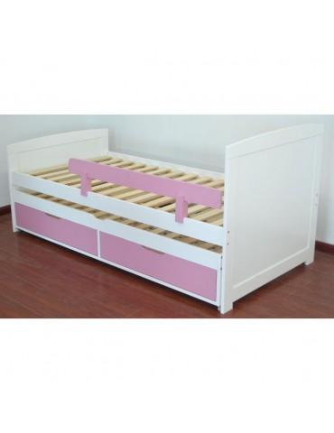 lit gigogne enfant avec sommiers et tiroirs patapon blanc et rose